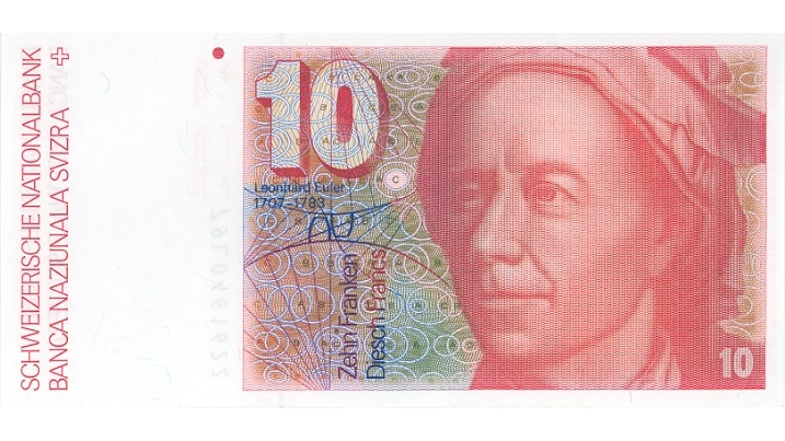 Sixth banknote series, 1976, 10 franc note, front
