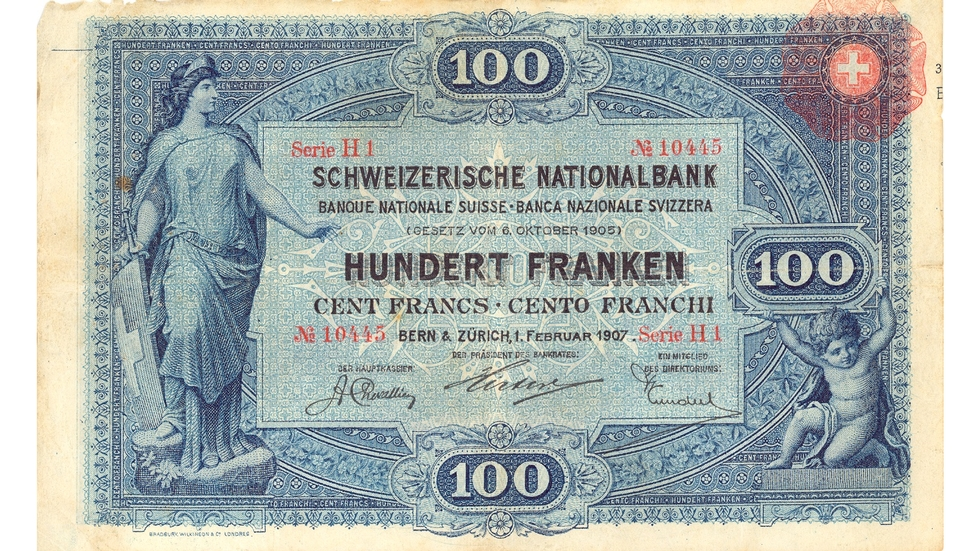 First banknote series, 1907, 100 franc note, front