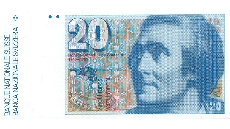 Sixth banknote series, 1976, 20 franc note, front