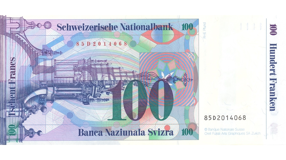 Seventh banknote series, 1984, 100 franc note, back