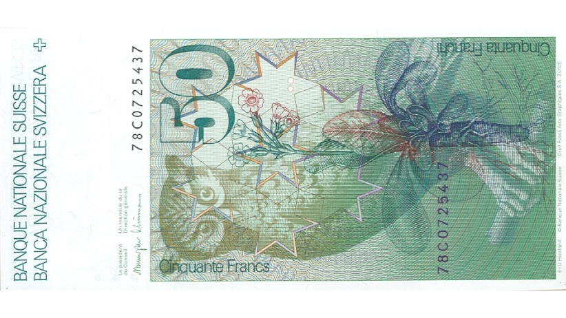 Sixth banknote series, 1976, 50 franc note, back