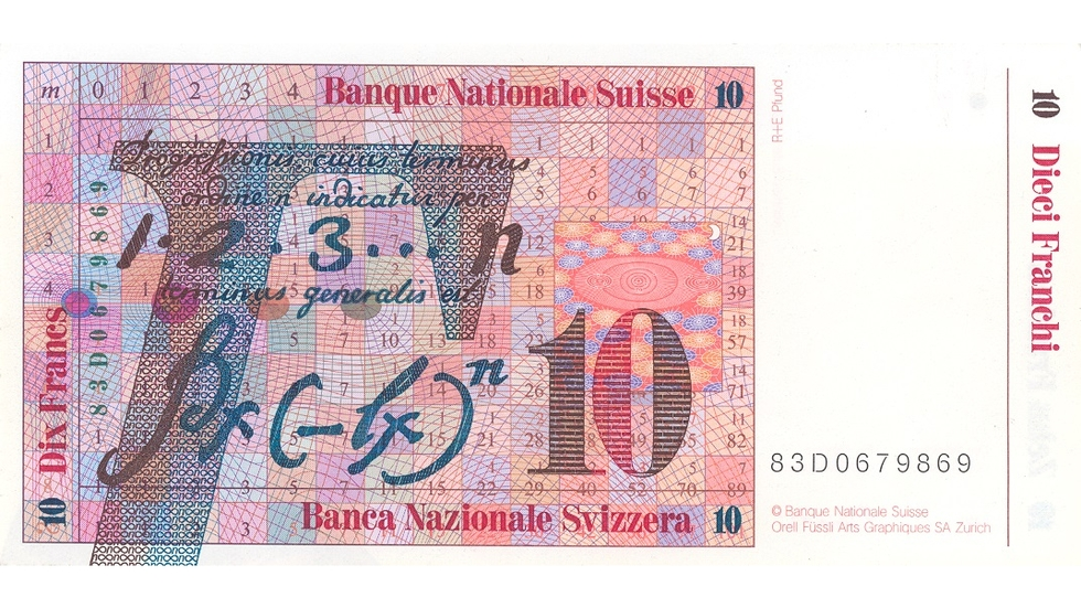 Seventh banknote series, 1984, 10 franc note, back