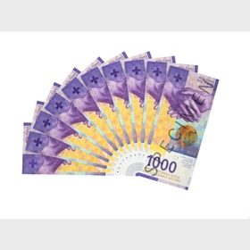 Fan of 1000-franc notes (front)