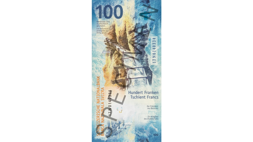 100-franc note, specimen (back)
