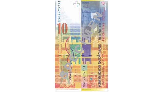 Eighth banknote series, 1995, 10 franc note, back