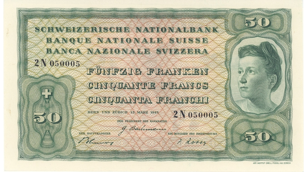 Fourth banknote series, 1938, 50 franc note, front