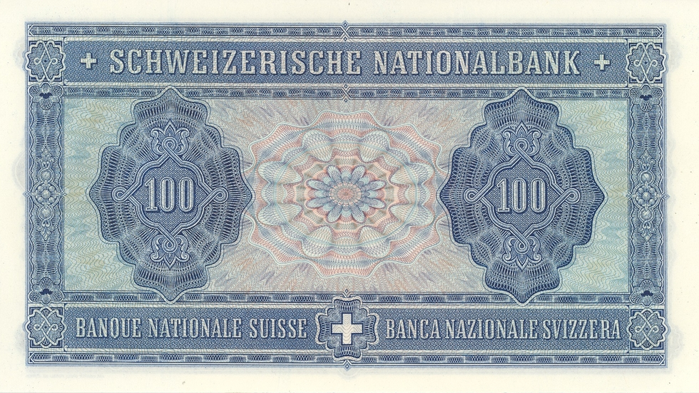 Fourth banknote series, 1938, 100 franc note, back