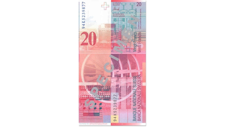 Eighth banknote series, 1995, 20 franc note, back