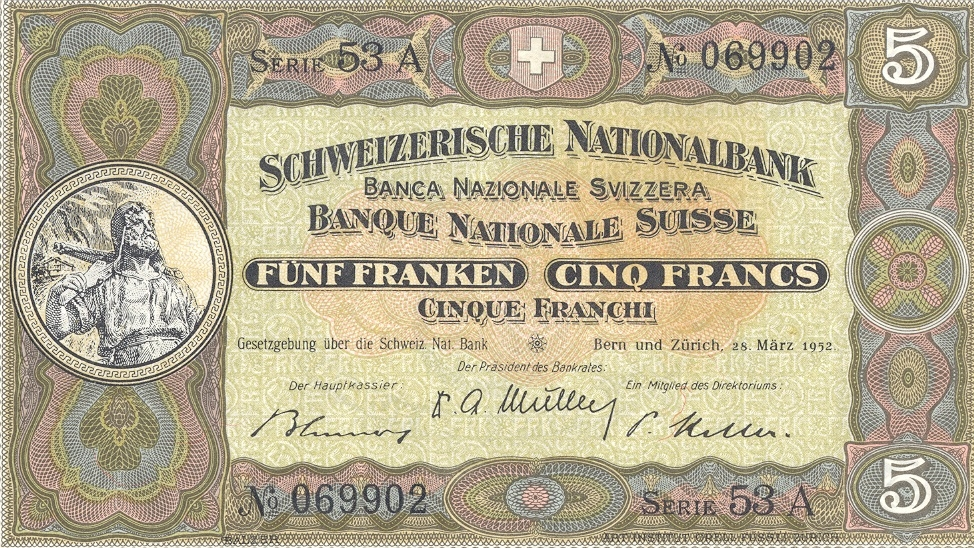 Second banknote series, 1911, 5 franc note, front