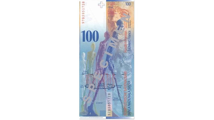 Eighth banknote series, 1995, 100 franc note, back