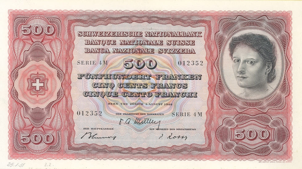 Fourth banknote series, 1938, 500 franc note, front