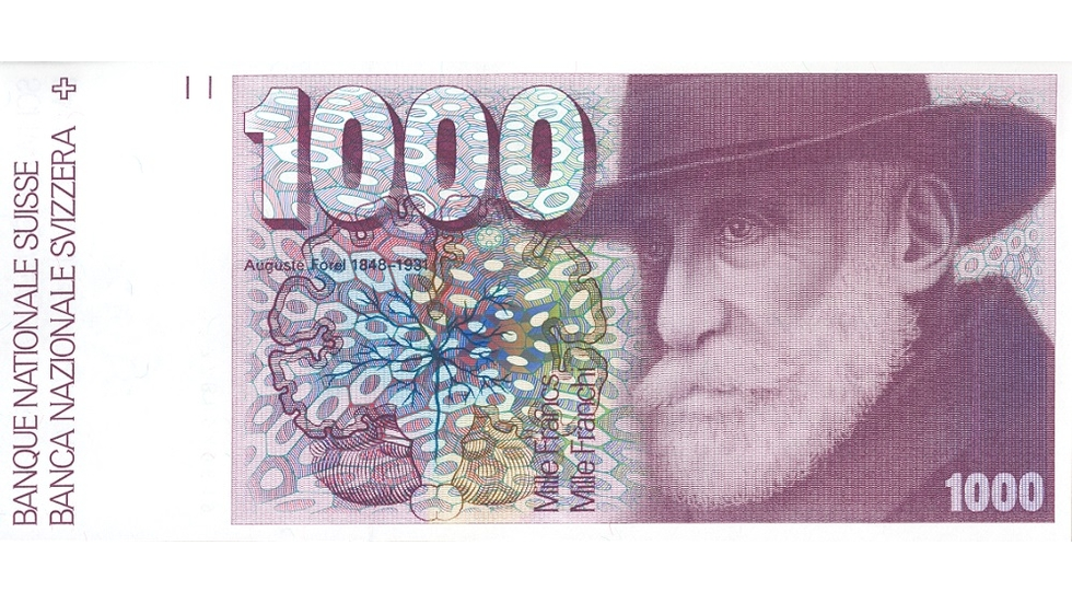 Sixth banknote series, 1976, 1000 franc note, front