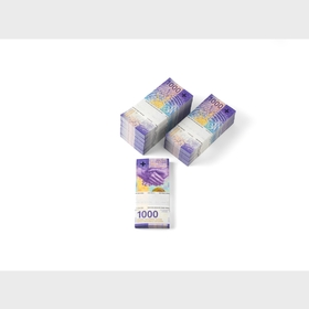 Bundles of 1000-franc notes (back)