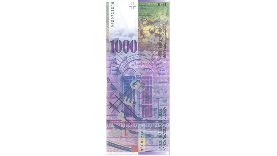 Eighth banknote series, 1995, 1000 franc note, back