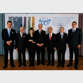 Group photo (from left to right): Philipp Hildebrand (SNB), Jean-Pierre Roth (SNB), Micheline Calmy-Rey (Swiss Confederation), Otmar Hasler (Principality of Liechtenstein), Hansueli Raggenbass (SNB), Jean-Claude Trichet (ECB), Thomas Jordan (SNB)