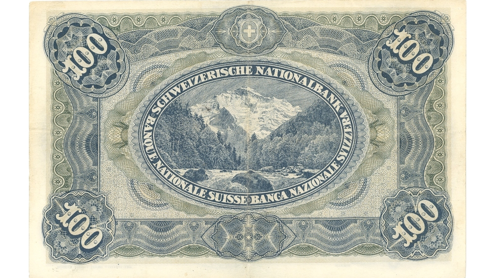 Third banknote series, 1918, 100 franc note, back