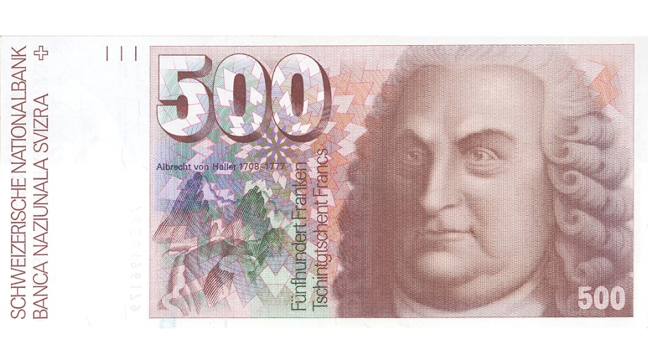 Sixth banknote series, 1976, 500 franc note, front