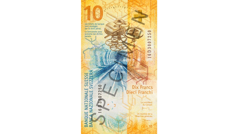 10-franc note Specimen (back view)