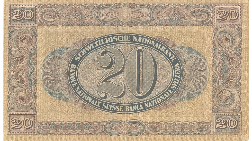 Second banknote series, 1911, 20 franc note, back