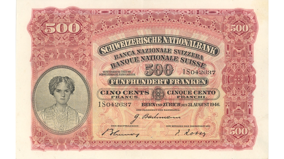 Second banknote series, 1911, 500 franc note, front