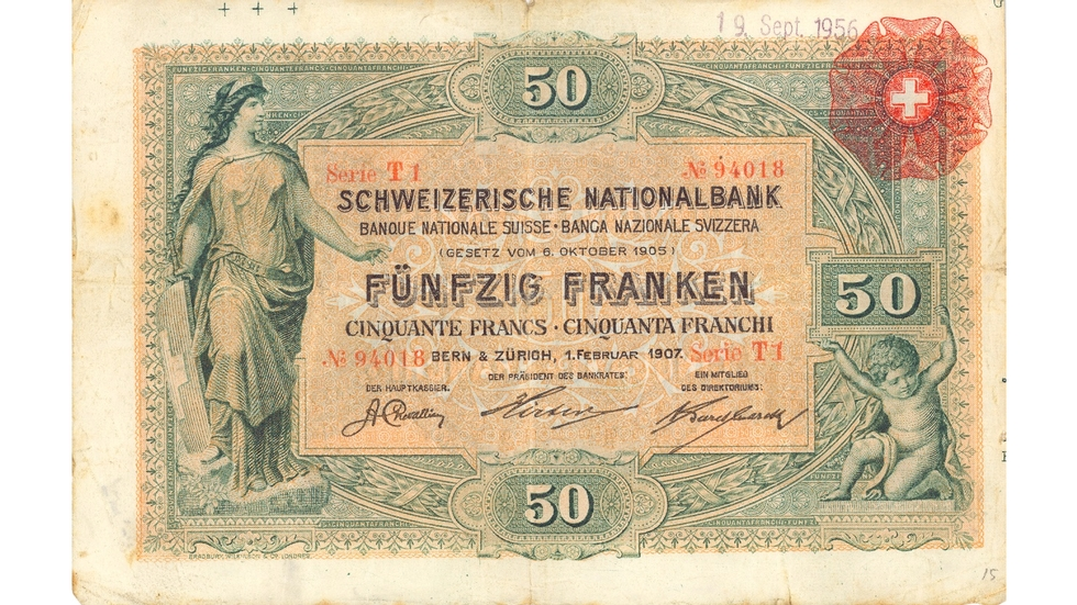First banknote series, 1907, 50 franc note, front