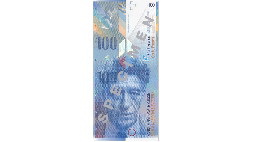 Eighth banknote series, 1995, 100 franc note, front