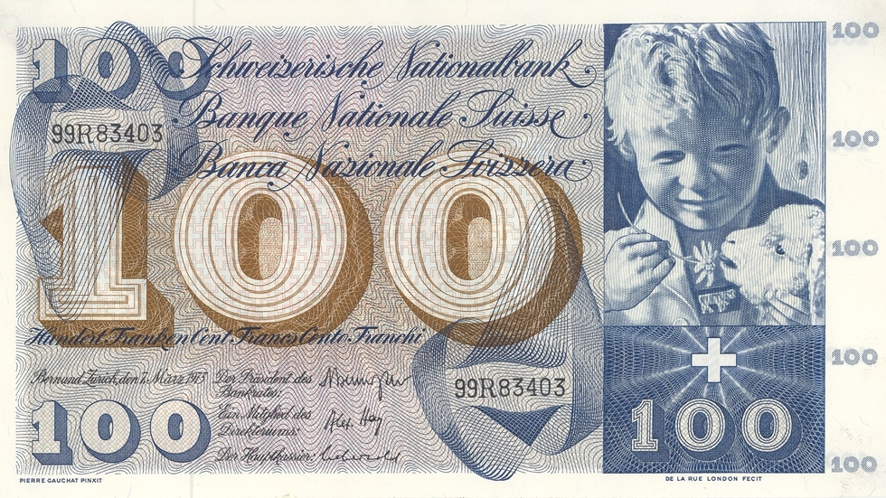 Fifth banknote series, 1956, 100 franc note, front