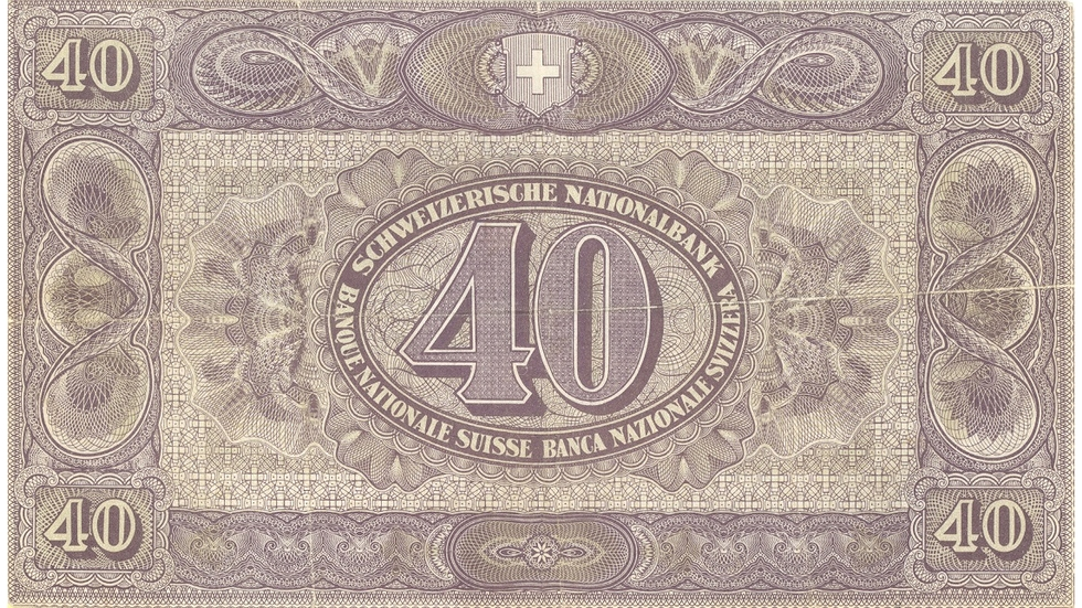 Second banknote series, 1911, 40 franc note, back
