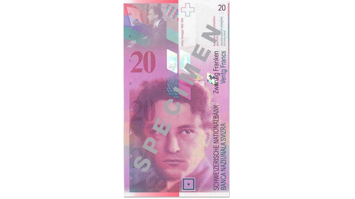 Eighth banknote series, 1995, 20 franc note, front