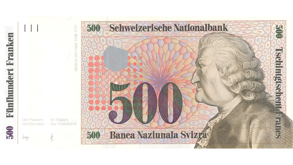 Seventh banknote series, 1984, 500 franc note, front