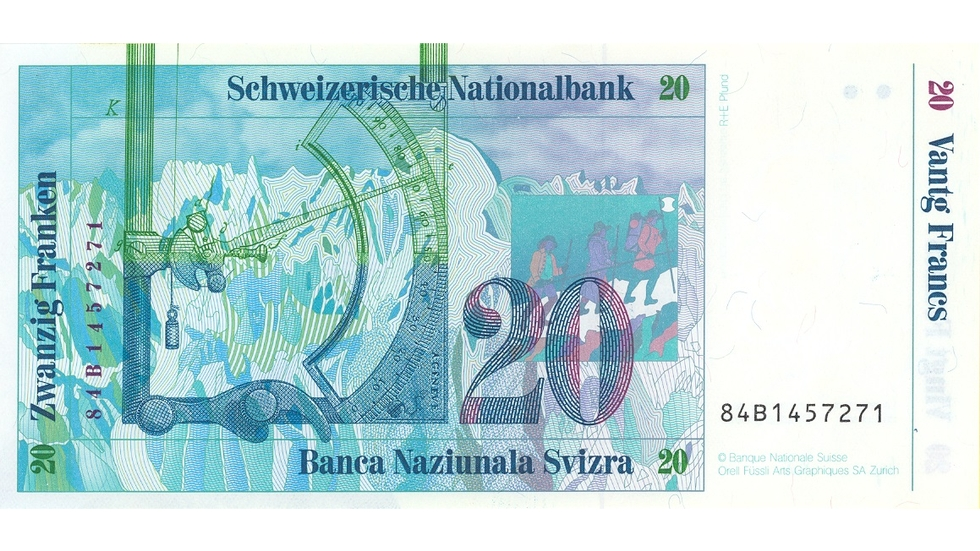 Seventh banknote series, 1984, 20 franc note, back