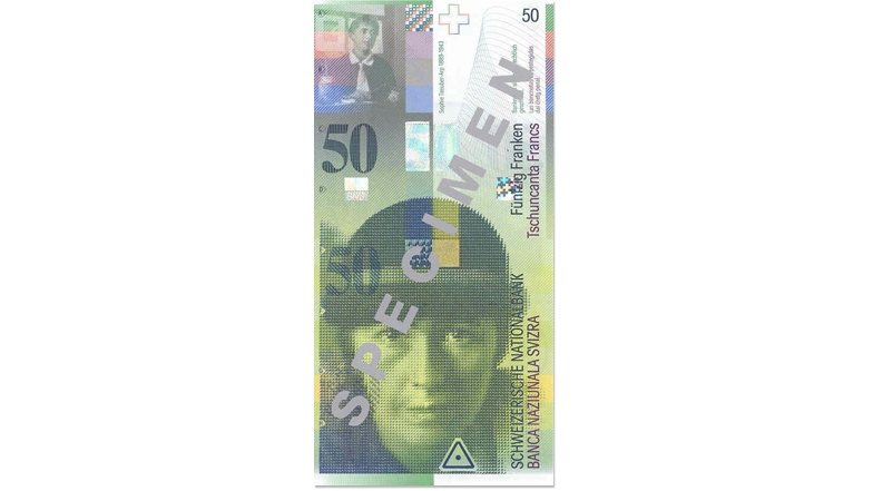 Eighth banknote series, 1995, 50 franc note, front