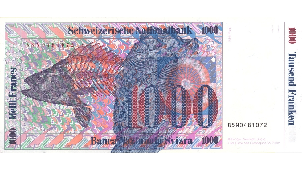 Seventh banknote series, 1984, 1000 franc note, back