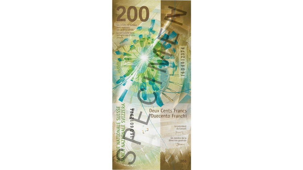 200-franc note Specimen (back view)