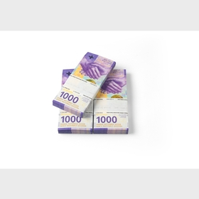 Bundles of 1000-franc notes (front)