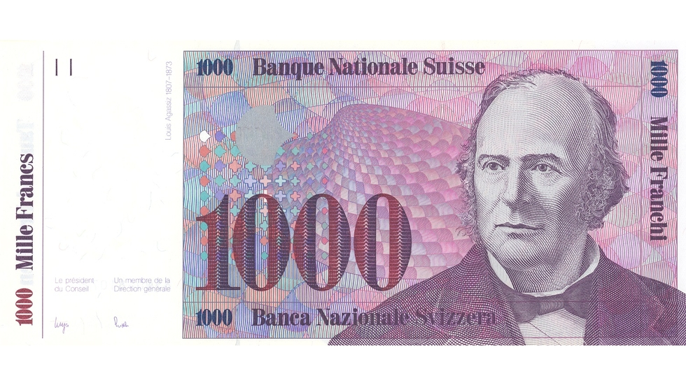 Seventh banknote series, 1984, 1000 franc note, front