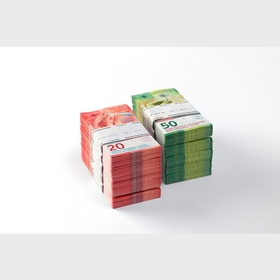 Bundles of 20 and 50 franc notes
