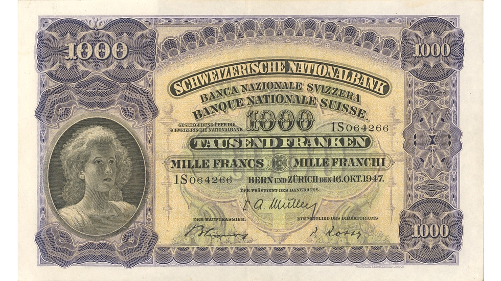 Second banknote series, 1911, 1000 franc note, front