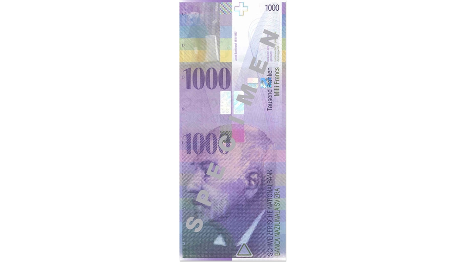 Eighth banknote series, 1995, 1000 franc note, front