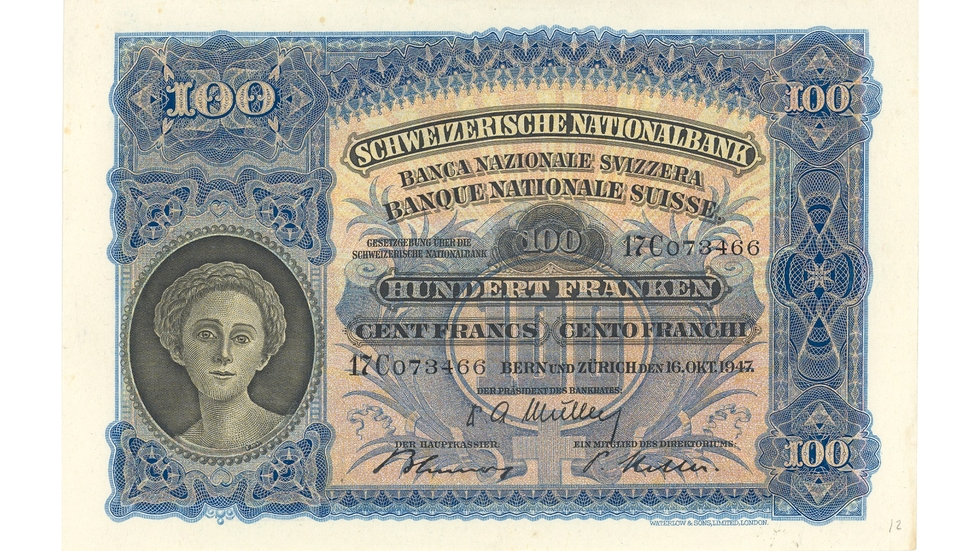 Second banknote series, 1911, 100 franc note, front