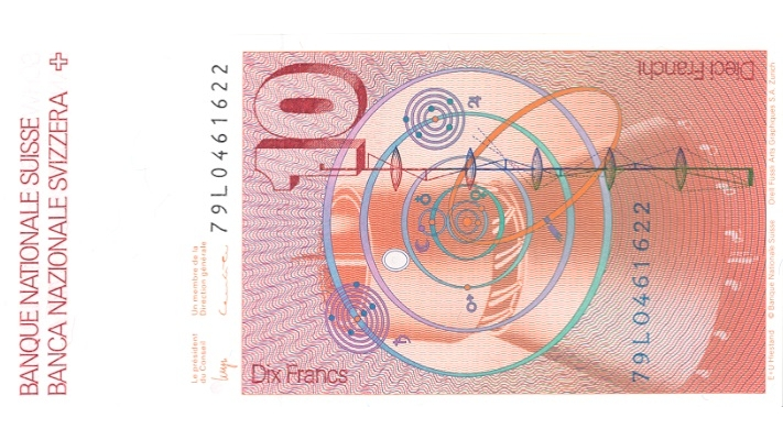Sixth banknote series, 1976, 10 franc note, back