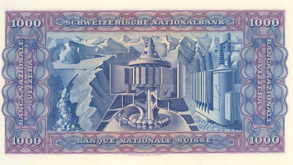 Fourth banknote series, 1938, 1000 franc note, back
