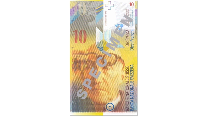 Eighth banknote series, 1995, 10 franc note, front