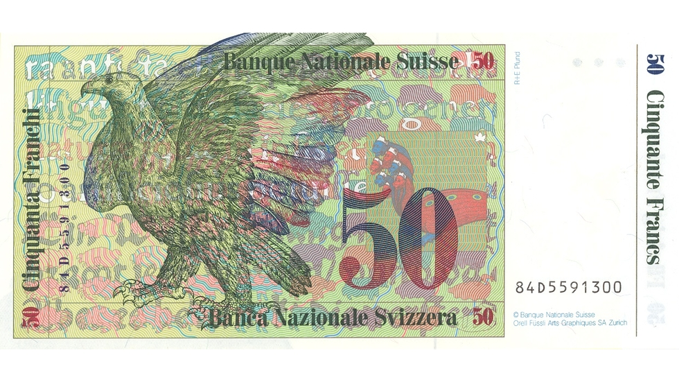 Seventh banknote series, 1984, 50 franc note, back
