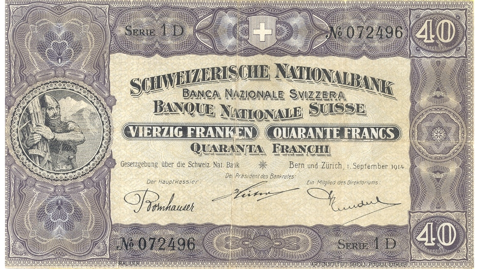 Second banknote series, 1911, 40 franc note, front