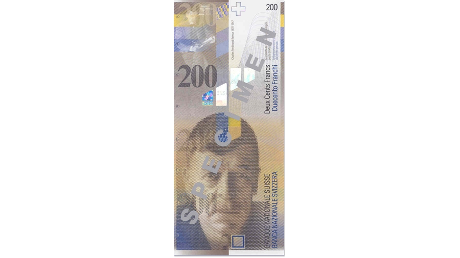 Eighth banknote series, 1995, 200 franc note, front