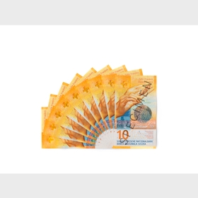 Fan of 10-franc notes (front view)