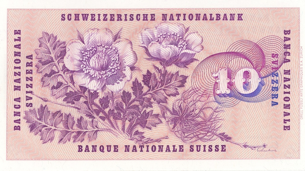 Fifth banknote series, 1956, 10 franc note, back