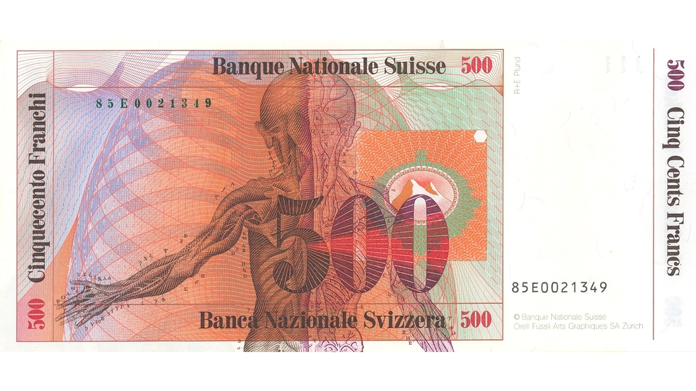 Seventh banknote series, 1984, 500 franc note, back