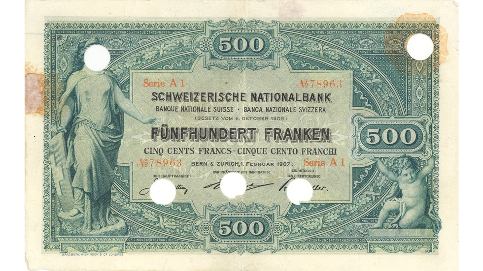 First banknote series, 1907, 500 franc note, front
